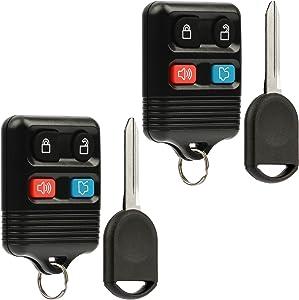 Car Key Fob Keyless Entry Remote fits Ford, Lincoln, Mercury, Mazda with Ignition Key (CWTWB1U331 GQ43VT11T CWTWB1U345 4-btn), Set of 2