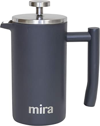 MIRA 12 oz Stainless Steel French Press Coffee Maker | Double Walled Insulated Coffee & Tea Brewer Pot & Maker | Keeps Brewed Coffee or Tea Hot | 350 ml (12 oz (350 ml), Gray)