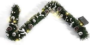 HEITMANN DECO 91641/lave-vaisselle Guirlande de Sapin Artificiel décoré avec éclairage LED, Longueur 120cm, Plastique, Argent, 46,3x 14,3x 6,5cm