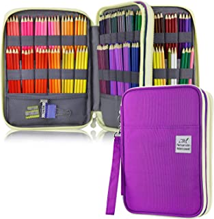 YOUSHARES 192 Slots Colored Pencil Case, Large Capacity Pencil Holder Pen Organizer Bag with Zipper for Prismacolor Watercolor Coloring Pencils, Gel Pens & Markers for Student & Artist (Purple)