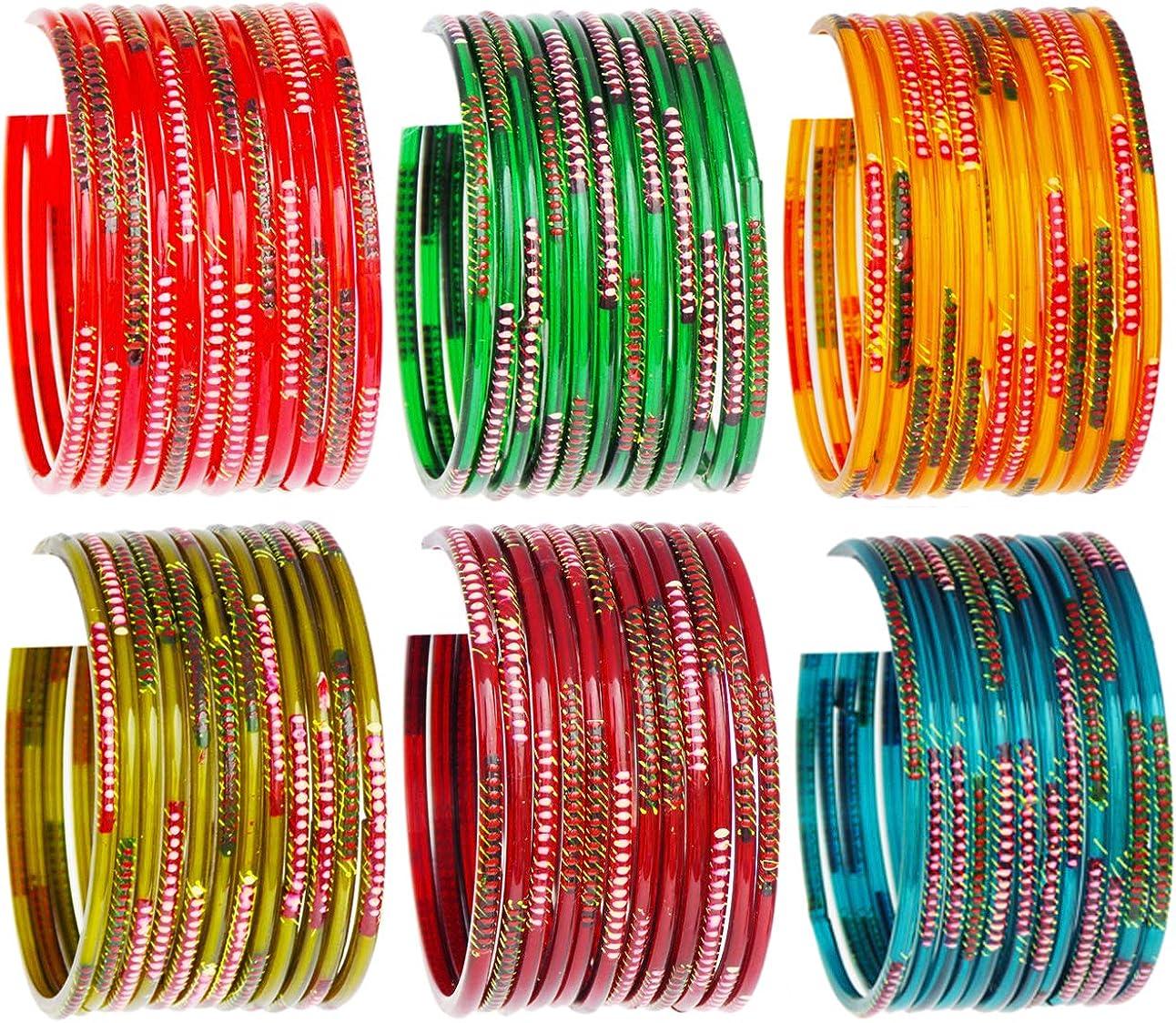 JD'Z COLLECTION Indian Jewelry Bangles Set Bollywood Style Bangle Bridal Ethnic Dailywear Glass Bangles Set