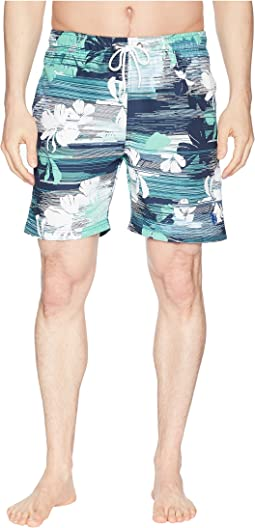 "7"" Streak Print Swim Shorts"