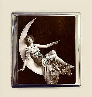Paper Moon Cigarette Case Business Card ID Holder Wallet Art Deco Celestial Whimsical Fantasy