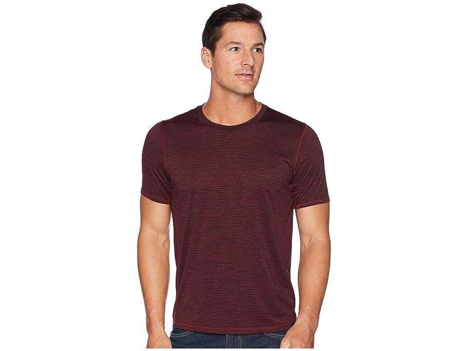 Prana Hardesty T-Shirt (Black Cherry Stripe) Men