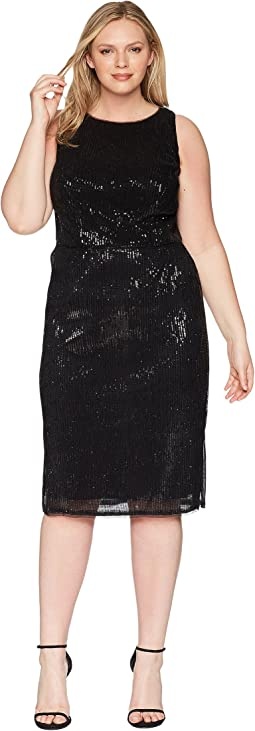 Plus Size Halter Pleated Sequin Dress