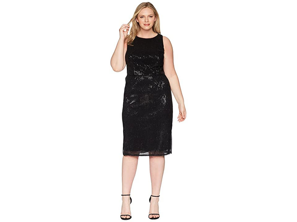 Adrianna Papell Plus Size Halter Pleated Sequin Dress (Black) Women
