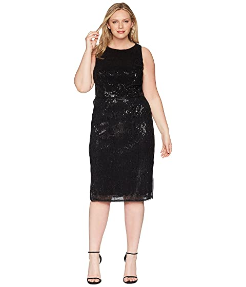 Adrianna Papell Plus Size Halter Pleated Sequin Dress At Zappos