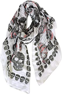 GERINLY Cool Skull Print Wrap Scarf Lightweight Cozy Winter Scarves Halloween Scarf Shawl for Women