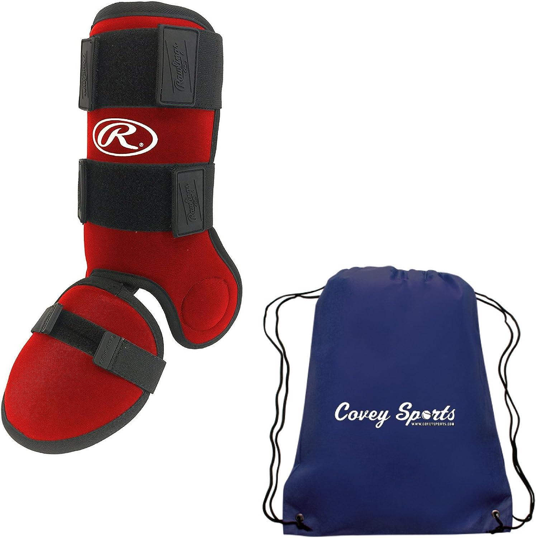 and Ankle Guard Protector Bundled with Covey Sports Bag Rawlings Baseball Softball Batters Leg Shin