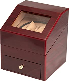 RED WOOD 2+2 AUTOMATIC DOUBLE/DUAL WATCH WINDER DISPLAY STORAGE BOX BATTERY OR AC/DC …