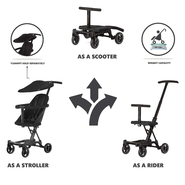 Dream On Me, Coast Stroller Rider, Lightweight, One Hand Easy Fold, Travel Ready, Strudy, Adjustable Handles, Soft-Ride Wheels, Easy to Push, Black
