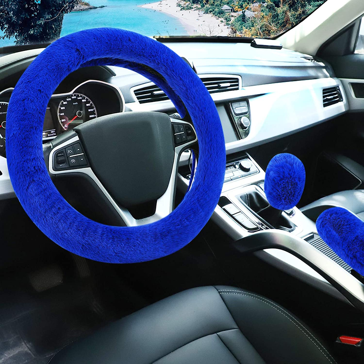 Accmor Fluffy Steering Wheel Cover for Women Girls, 15 inches Winter Warm Fuzzy Vehicle Wheel Protector Car Decor, Ladies Fashion Fur Car Wheel Cover & Handbrake Cover & Gear Shift Cover Set (Blue)