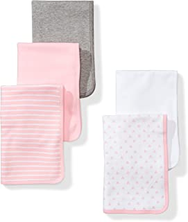 Moon and Back Baby Set of 5 Organic Reversible Lined Burp Cloths