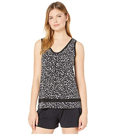 Donna Karan Modal Spandex Tank Top (Black Animal) Women