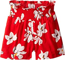 All Over Tropical Flower Print with Elastic Ruched Waist Malibu Shorts (Toddler/Little Kids/Big Kids)