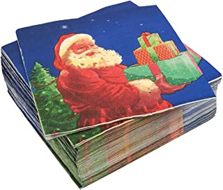 100-Pack Napkins - Christmas Themed Disposable Paper Party Napkins Festive Santa Claus Print - Soft and Absorbent - Perfect for Luncheons, Dinners and Celebrations - 6.5 x 6.5 Inches