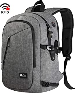 Laptop Backpack, Travel Business Anti Theft Backpack with USB Charging Port, Water Resistant College Bag for Women & Men Fits 15.6 Inch Laptop, Grey