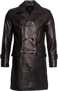 Mens Classic Black Uboat German Naval Military Peacoat Cowhide Leather Jacket