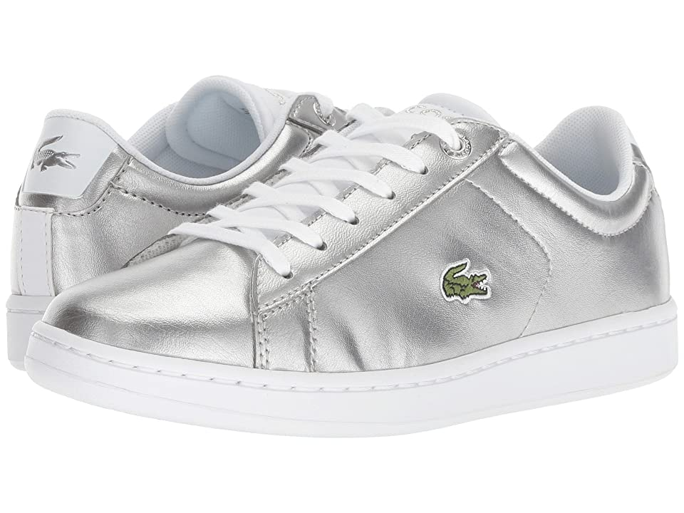 Lacoste Kids Carnaby Evo (Little Kid/Big Kid) (Silver/White) Kids Shoes