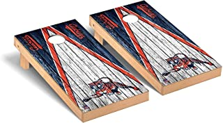 Victory Tailgate NCAA College Vault Cornhole Board Set - 2 Boards, 8 Bags - Weathered Triangle Version - Multiple Teams Available