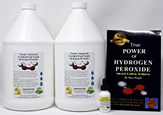 Food Grade Hydrogen Peroxide by Trinity NutraLab - Recognized as Highest Quality. 2 Gallons plus pre-filled dropper bottle & The Power of Hydrogen Peroxide. 35% reduced to 12% shipped fast