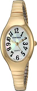 Viva Time Women's 'Timetech Stretch Bracelet' Quartz Metal and Stainless Steel Casual Watch, Color:Gold-Toned (Model: 2692L)