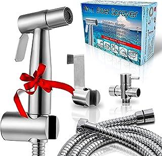 "AVAbay Bidet Sprayer for Toilet-Cloth Diaper Sprayer-Baby Hand Held Shower Spray Attachment-Premium Water Handheld Shattaf Sprayer-60"" Hose-High Pressure-No Leaks-Stainless Steel Bedit Cleaner"