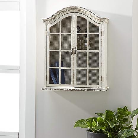 Amazon Com Deco 79 18162 Wood Metal Wall Cabinet 22 X 28 Home Kitchen