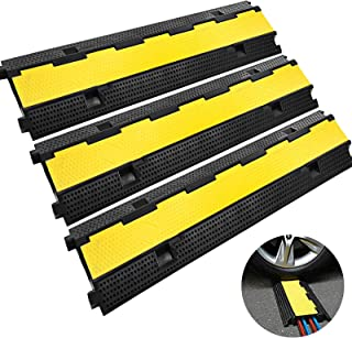 Happybuy 3 Pack of 2 11000lbs per Axle Capacity Protective Wire Cord Ramp Driveway Rubber Traffic Speed Bumps Cable Protector (2-Channel, 3Pack),