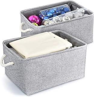 Paniers de Rangement Pliable en Tissu de Lin Coton avec Poignées Tissées, Boîte de Rangement pour Bureau Maison Jouets Org...