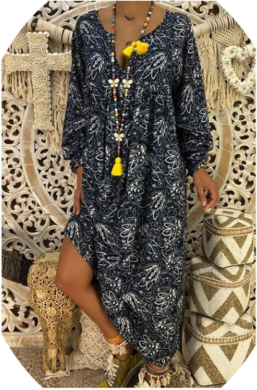 Boho Beach Dress Summer Plus Size Long Maxi Dress Women Printed Loose Bohemian Maxi Dress