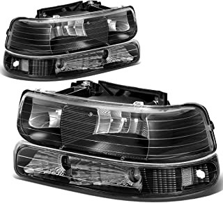 Black Housing Clear Corner Headlight+Bumper Light Lamp for Chevy Silverado Suburban Tahoe 99-