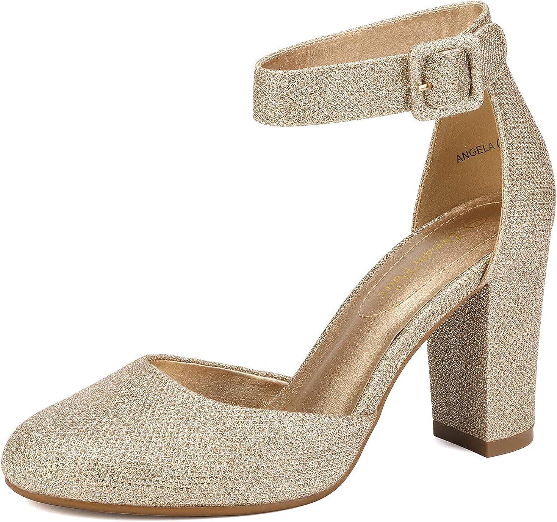 DREAM PAIRS Women's 激安通販ショッピング High Heel Closed Sh Wedding モデル着用&注目アイテム Pumps Toe Chunky