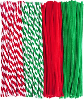 Livder 400 Pieces Christmas Pipe Cleaners Chenille Stems for DIY Art Crafts Decorations Supplies, Red Green White