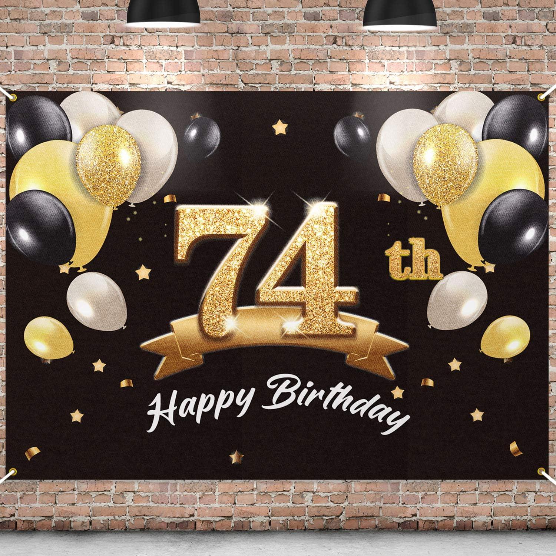 PAKBOOM Happy 74th Birthday Banner Party - Backdrop 5 ☆ popular Detroit Mall 74