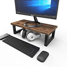 15 Inches Computer Monitor Riser Stand Desktop Ergonomic Wood Desktop Riser Cable Management for Laptop Computer (Rustic B...