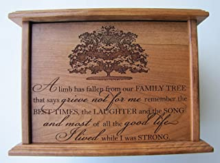 LifeSong Milestones Cremation Urn for Human Ashes Made of Solid Cherry Wood Laser Engraved Verse Limb Has Fallen from Our Family Tree That Says Grieve Not for Me