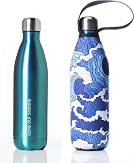 BBBYO Premium Double Wall Insulated Stainless Steel Water Bottle + Protective Carry Cover available in 17oz, 25oz and 34oz sizes