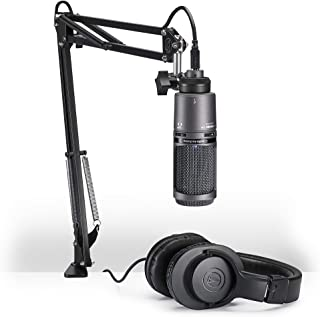 Audio-Technica AT2020USB+PK Vocal Microphone Pack for Streaming/Podcasting, Includes USB Mic w/Built-In Headphone Jack & V...