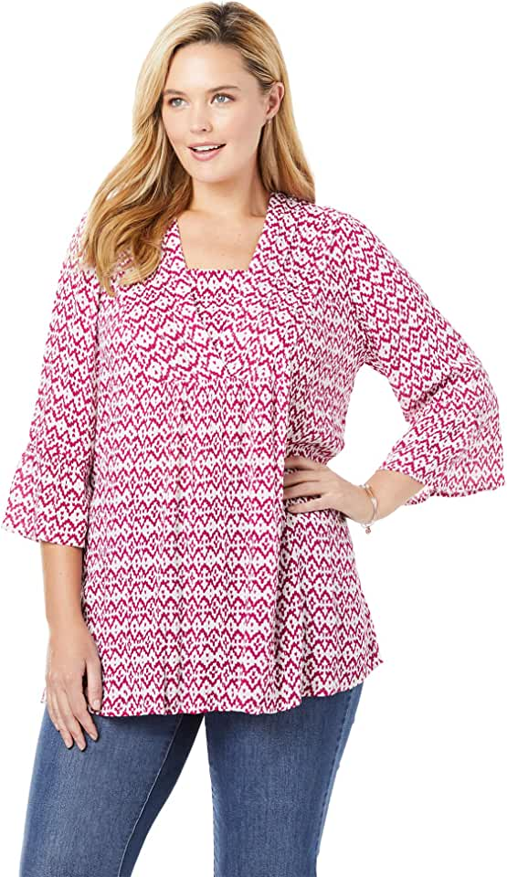 Woman Within Women's Plus Size Bell-Sleeve V-Neck Tunic