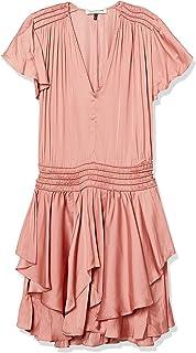 Halston Heritage womens Cap Sleeve V Neck Ruched Waist Flounce Dress Dress