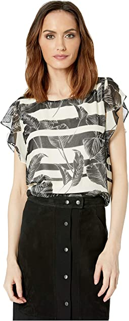 Flutter Sleeveless Tropical Shadows Chiffon Blouse