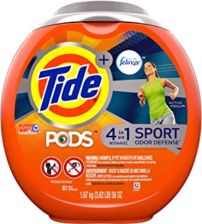 Tide PODS Plus Febreze Sport Odor Defense 4 in 1 HE Turbo Laundry Detergent Pacs, Active Fresh Scent, 61 Count Tub (Packaging May Vary)
