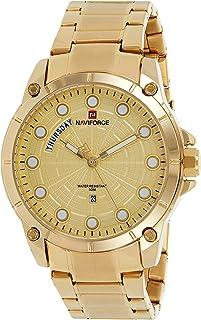 ساعة انالوج كلاسيكية بمينا ذهبي وسوار من الستانلس ستيل للرجال من نافي فوري - NF9152-GG