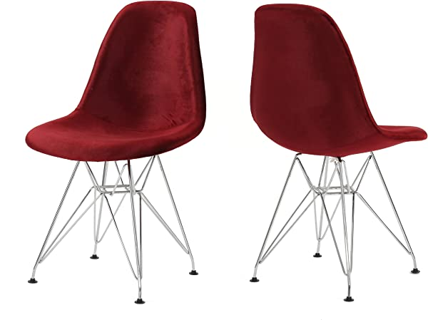 Christopher Knight Home 303300 William Mid Century Garnet Velvet Eiffel Chair Set Of 2