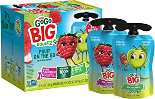 GoGo Big squeeZ Variety Pack (Apple Apple/Apple Raspberry Strawberry Vanilla), 4.2 Ounce (20 Pouches), Bigger Than Existin...