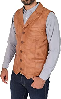 Mens Genuine Tan Soft Leather Waistcoat Revere Collar Western Vest Yelek Rhys