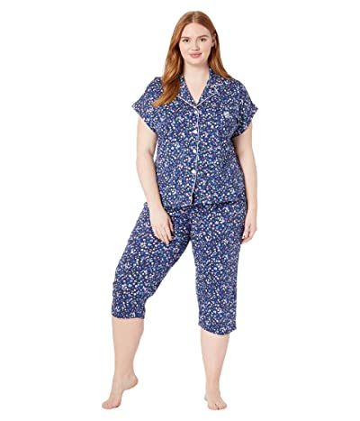 LAUREN Ralph Lauren Plus Size Cotton Rayon Jersey Knit Notch Collar Dolman Capri Pants Pajama Set (Navy Print) Women