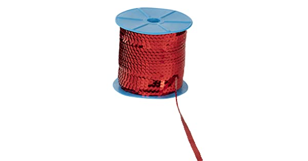 Sequin String Ribbon Roll for Crafts DIY Projects Costume Accessories 6mm Flat Sequin Trim 100 Yards Embellishments Red Paillettes Sequins Roll