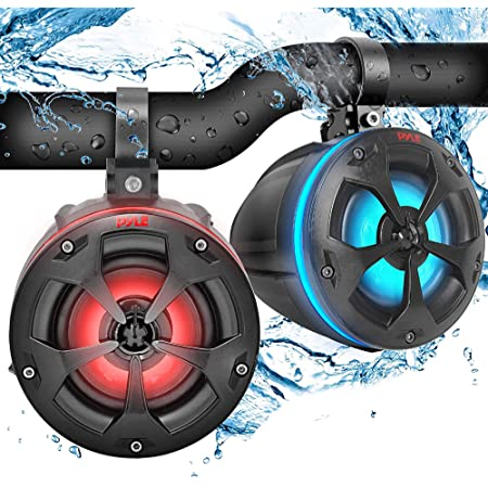 "2-Way Waterproof Off Road Speakers - 4"" 800W Active Passive Marine Grade Wakeboard Tower Speakers System w/RGB Light, Full Range Outdoor Audio Stereo Speaker for ATV/UTV, Jeep, Boat - Pyle PLUTV45BTR"